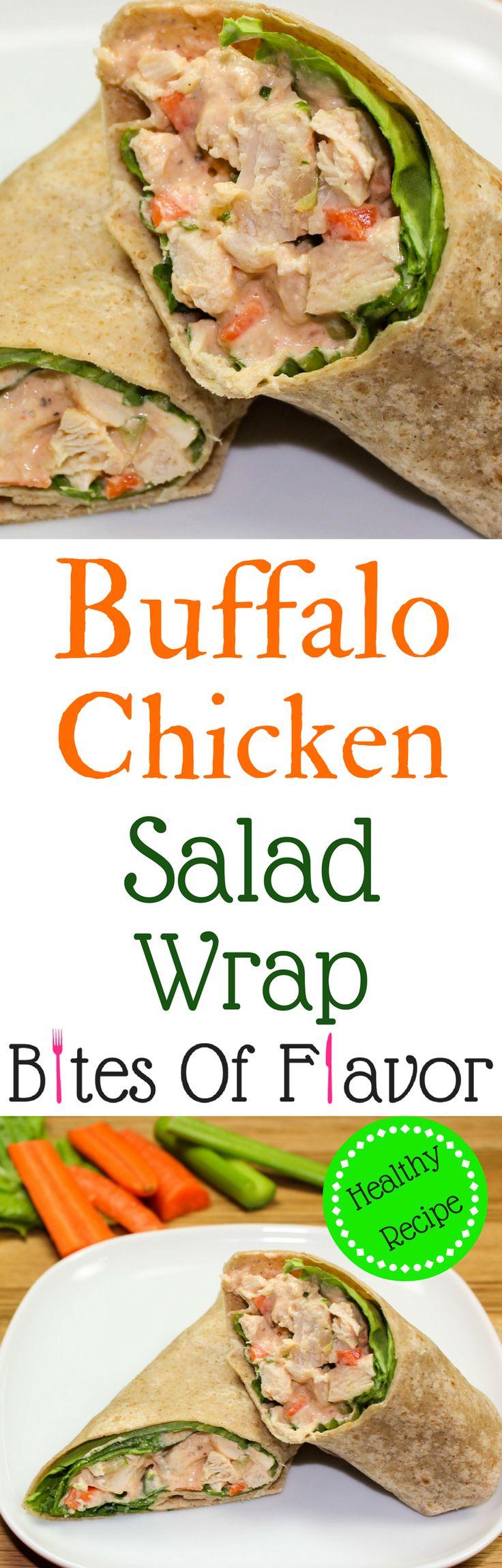 Buffalo Chicken Salad-Unique & healthy twist on classic chicken salad. Flavorful chicken mixed with buffalo sauce & fresh veggies. Weight Watcher friendly (5 SmartPoints)!