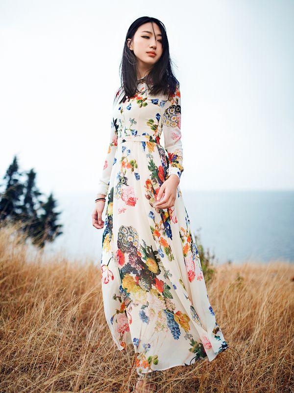 Acheter malin à fleurs manche longue Polo robe col longue pour femme à Jollychic, livraison gratuite !