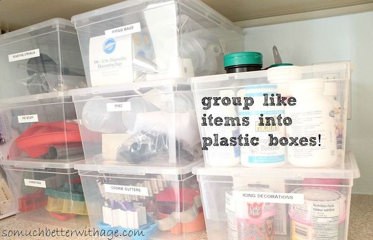Label all the boxes.  Put like items together like cake decorating supplies.
