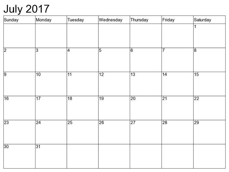 July 2017 Calendar Printable good ideas Pinterest 2017 - printable 2017 calendar