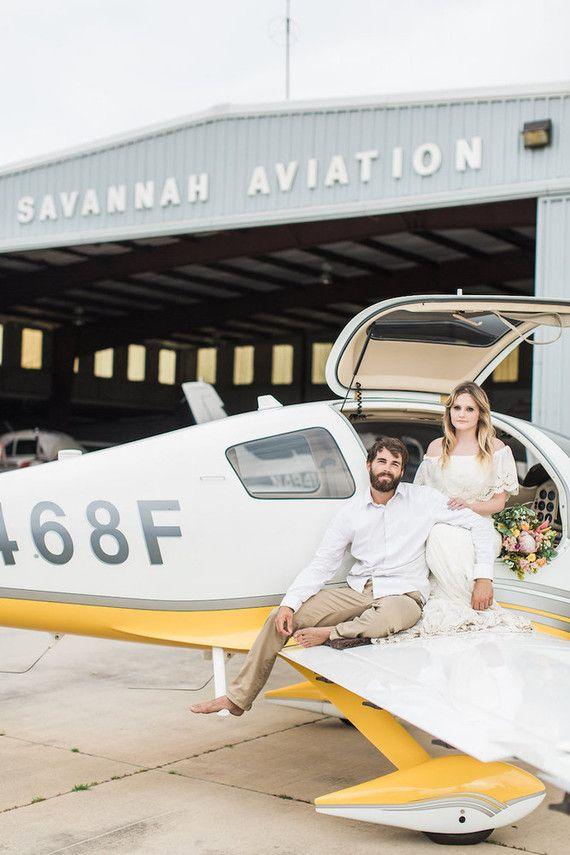 70's vintage airplane hangar wedding inspiration