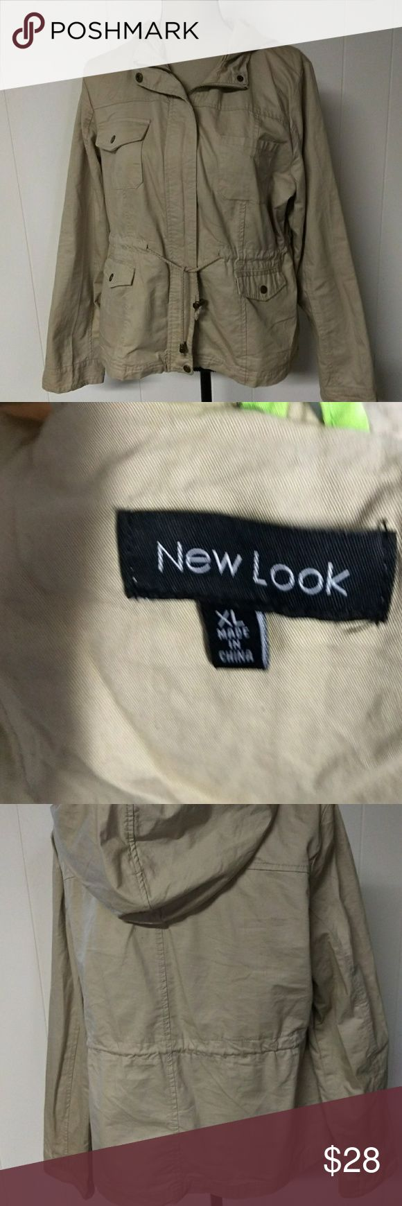 """New Look tan jacket with hood Zip and snap closure Draw string at waist 100% cotton  Light. weight 2 breasts pockets Size XL 19"""" length 23"""" pit to pit 25"""" sleeve 20"""" across front at hem New Look Jackets & Coats"""