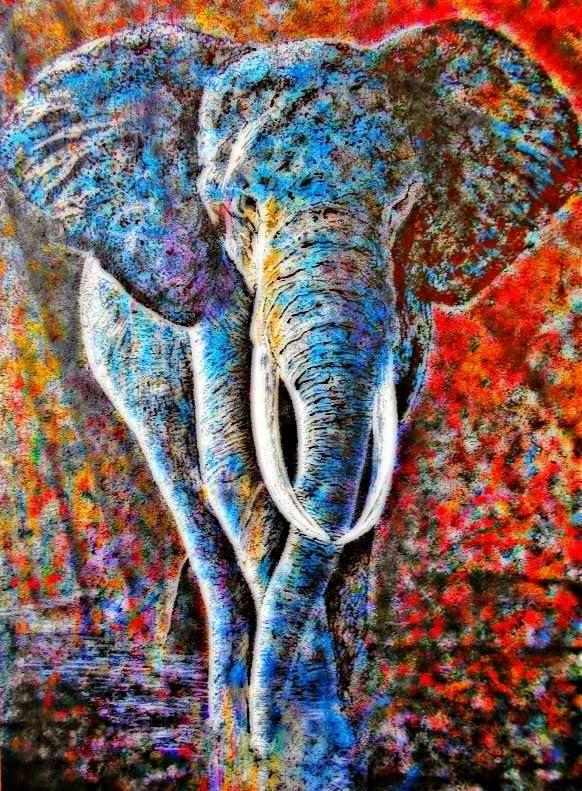 """""""Слон"""" Размер: 90*50 Холст, масло.  Художник Богдан Погребной создает удивительно яркие и энергичные картины в стиле импрессионизма. Каждая его работа наполнена теплотой и солнцем. «Первые уроки живописи я получил от старшего брата, в дальнейшем я экспериментировал со смешением различных техник и стилей, пока не выработал свой собственный. Творчество помогает обрести внутреннюю гармонию и реализоваться в социуме, оно дает удивительную жизненную силу, которую я пытаюсь передать в каждой своей…"""