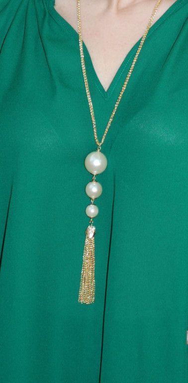 Triple Pearl Tassel Necklace