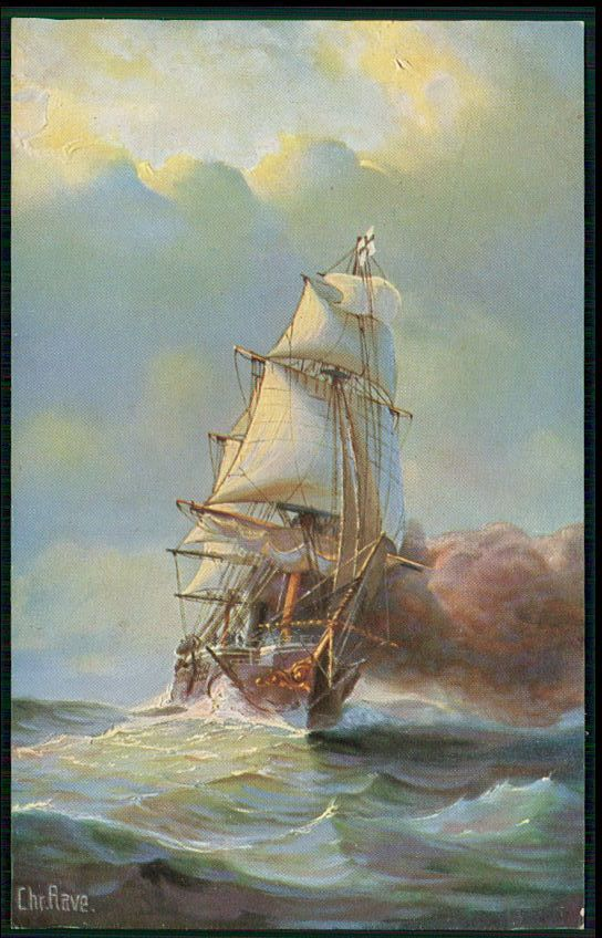 Germany Armored frigate Ship Historical Sail boat original old 1920s postcard