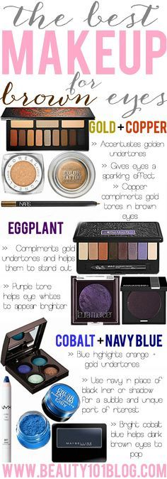 Everything you need to know about the best makeup for brown eyes and which colors look the best. #makeup #beauty #eyeshadow