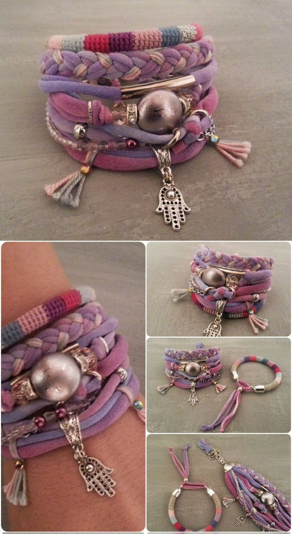 Indian Pink Gypsy Bracelet Woven Jewelry by vanessahandmade