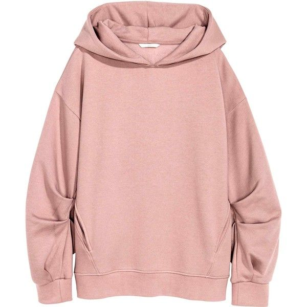 Oversized hooded top (£18) ❤ liked on Polyvore featuring tops, hoodies, sweaters, jackets, ribbed long sleeve top, oversized tops, pink hooded sweatshirt, pink hoodies and oversized hood hoodie