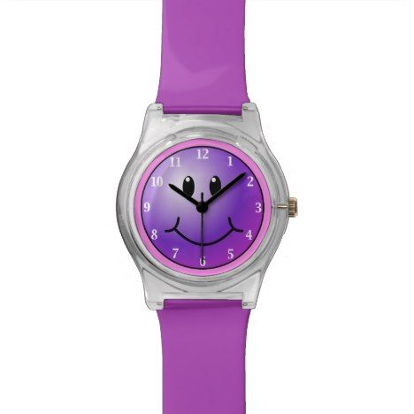 #watches #wristwatches Purple Smiley Funny Emoji Face May28th Watch - click/tap to personalize