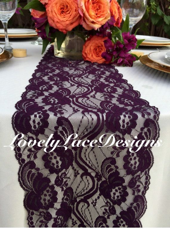 "PLUM Lace Table Runner/5ft long x 7"" Wide/Wedding Decor/ Lace Overlay/Tabletop…"