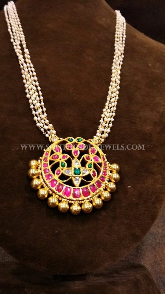 Gold Pearl Chain With Antique Ruby Pendant Designs.