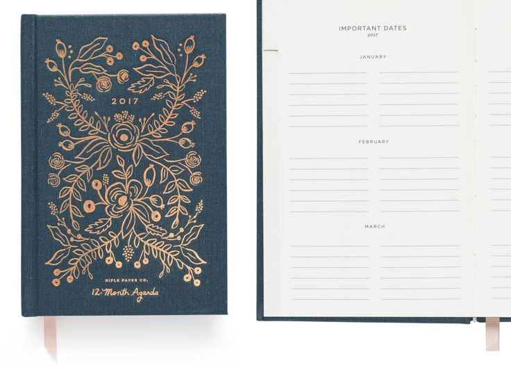 http://www.revelist.com/career/best-daily-planners/3614/With a foil-embossed hardcover, this Rifle Paper Co. planner keeps all your events safe and sound, and keeps them pretty./6/#/6