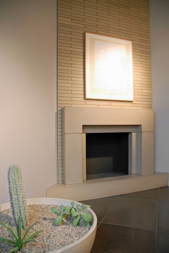 modern fireplace brick and sandstone look