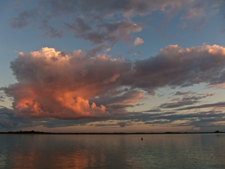 Pink clouds over the Laguna Bacalar