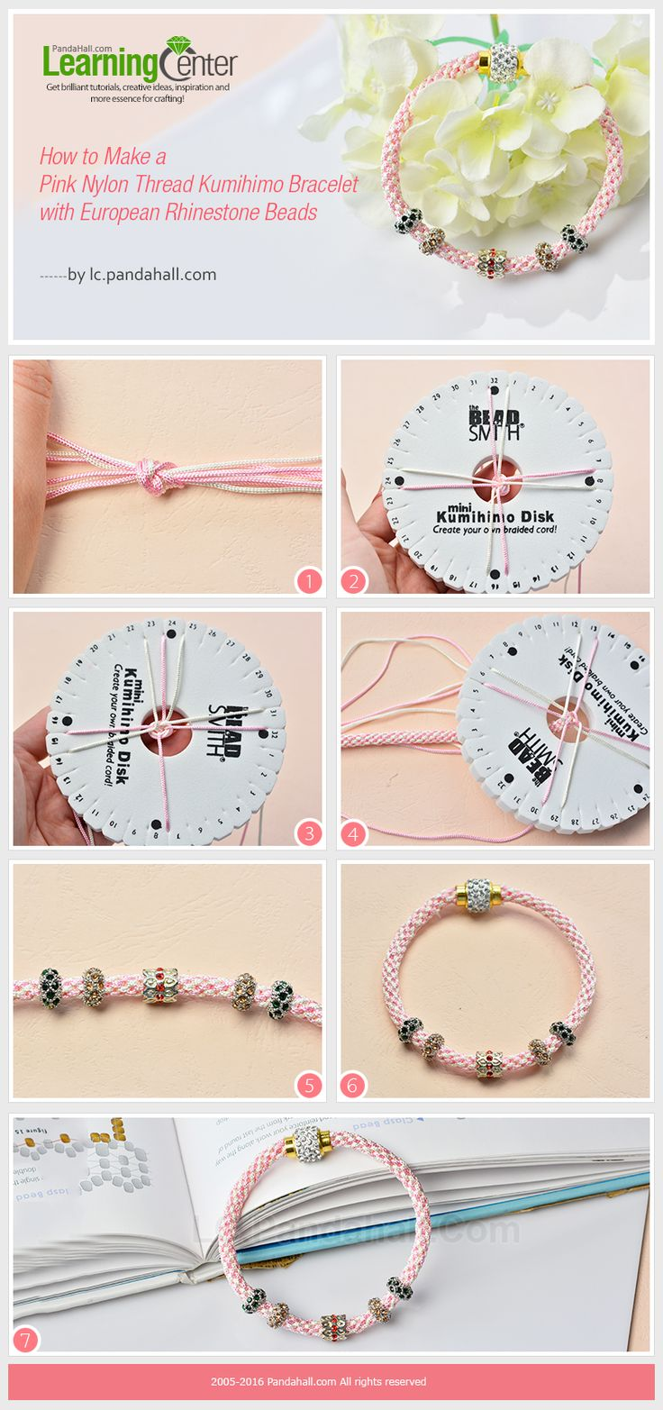 Tutorial on How to Make a Pink Nylon Thread Kumihimo Bracelet with European Rhinestone Beads from LC.Pandahall.com