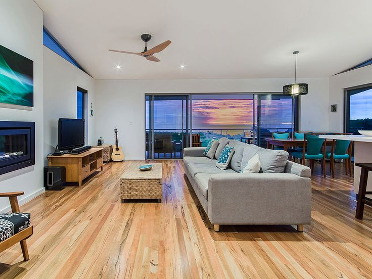 Open plan living, Timber Flooring, Trinidad Ceiling Fan, beach house, beach style interior