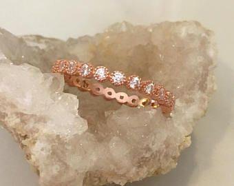 Bezel set-Rose gold plated-Rose gold Eternity band-Engagement Ring-Wedding Band- Bezel set Band- Art Deco Wedding Ring-Diamond Simulant-CZ
