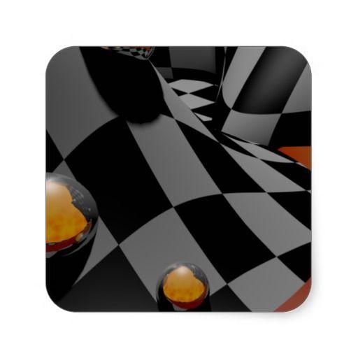 Checkered Past  2 Square Stickers
