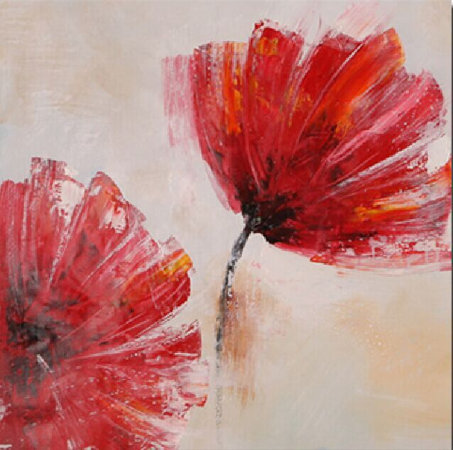Palette Knife Canvas Abstract Red Flowers Art Hand Painted