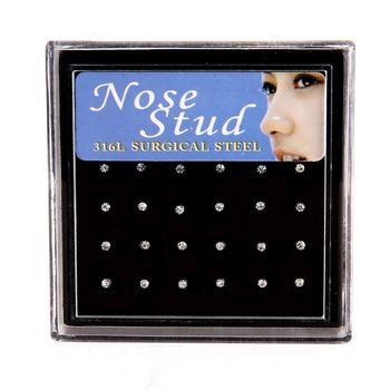 2015 hot sale Nose Ring Fashion Body Jewelry Nose Studs Stainless Surgical Steel Nose Piercing Crystal Stud