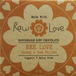 Raw Love Chocolate  - Organic Cold Pressed Cacao Powder & Cacao Butter, Organic Raw Honey, Organic Coconut Oil, Organic Bee Pollen & Sea Salt - 40 gram