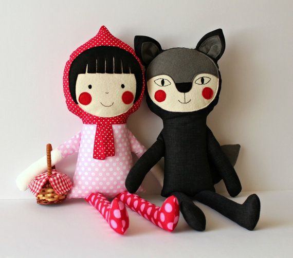Red Riding Hood and Mr. Wolf handmade stuffed play set. Rag dolls for children. Fairytale characters