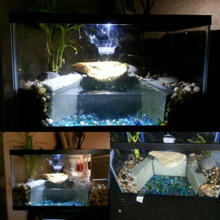 Scrap made turtle tank with waterfall my custom creations pinterest turtles turtle tanks Diy indoor turtle pond