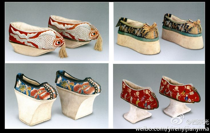 These shoes were used during the Qing dynasty. They are really small because small feet were seen as a sign of beauty and this would make you desirable.