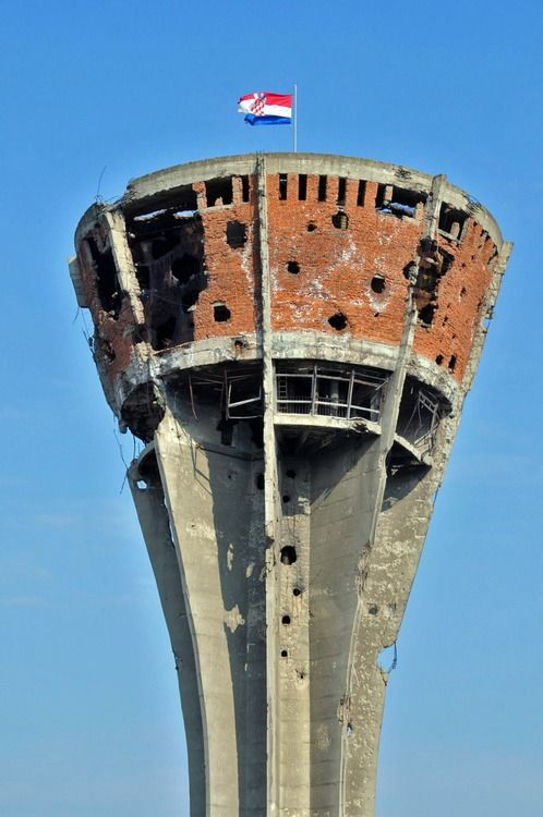The Vukovar water tower in Croatia now stands as a symbol of the battle that took place during the Croatian War ofIndependencein 1991. Vukovar, Croatia.
