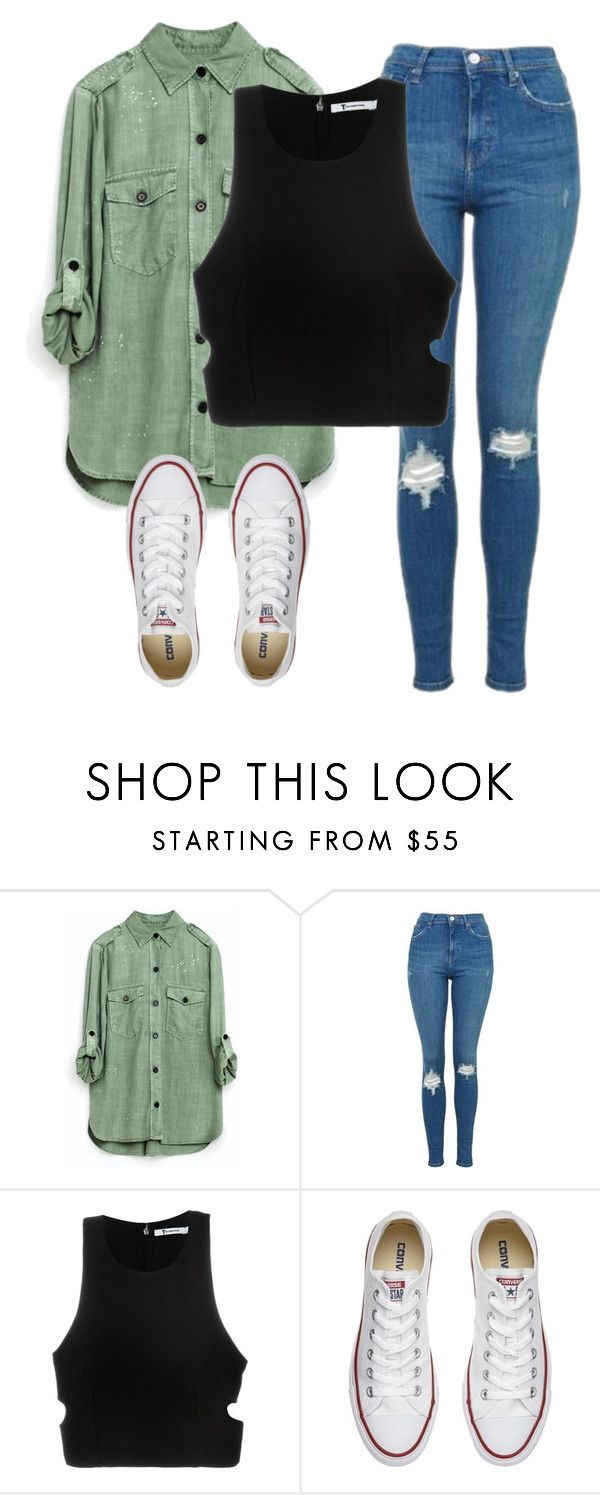 """""""Downtown"""" by melw44 ❤ liked on Polyvore featuring Topshop, T By Alexander Wang and Converse"""