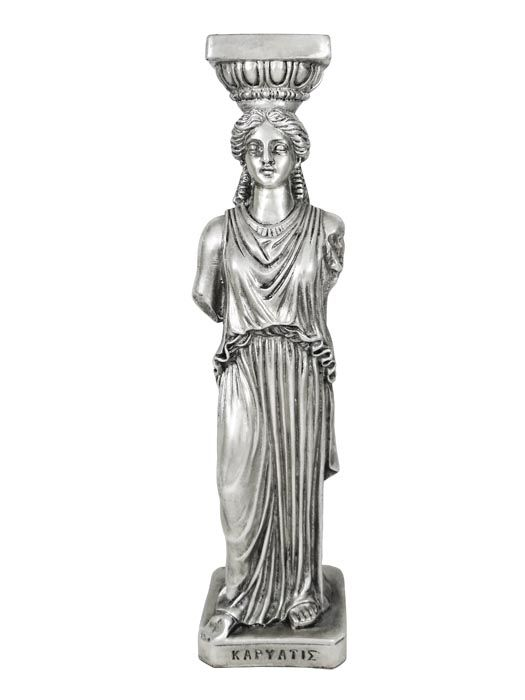 Caryatid was an ancient sculpture of a female form, which was used as architectural support in ancient greek architecture. The sculpture is inspired by the caryatids from the Erechtheion at the Acropolis of Athens. Around 420 B.C., Athens, Ancient Greece. Dimensions: 6cm x 24,5cm x 5,8cm Resin, coated in copper and plated in silver solution 999°.