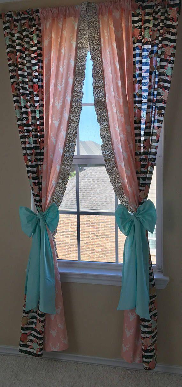 Pink Deer Curtain Panels Floral Stripe Curtain