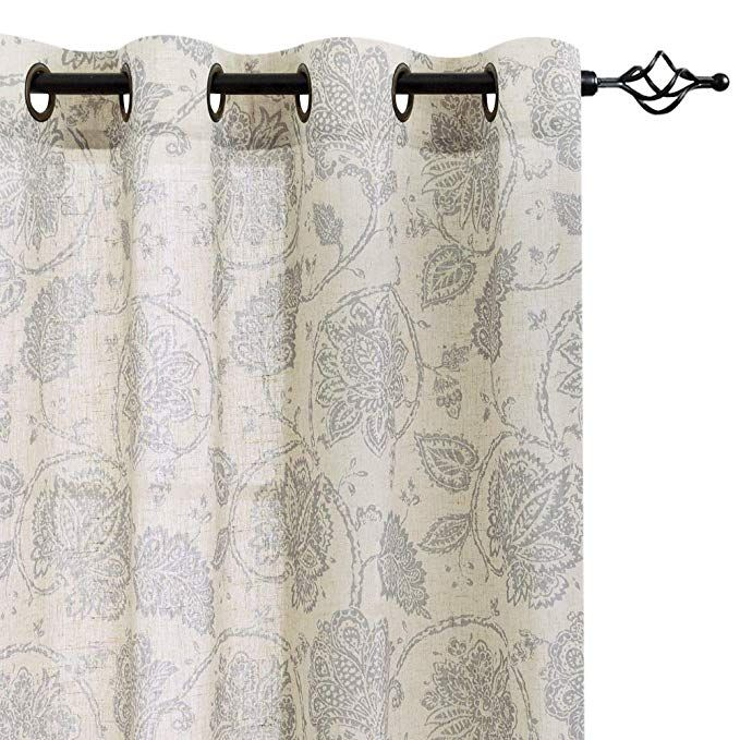 Paisley Scroll Printed Linen Curtains Grommet Top Medallion Design Jacobean Floral Printed Curtains Burlap Vintage Living Room Curtain Panels Grey 84 Inch With Images Window Curtains Living Room Linen Curtains Printed Curtains #vintage #living #room #curtains