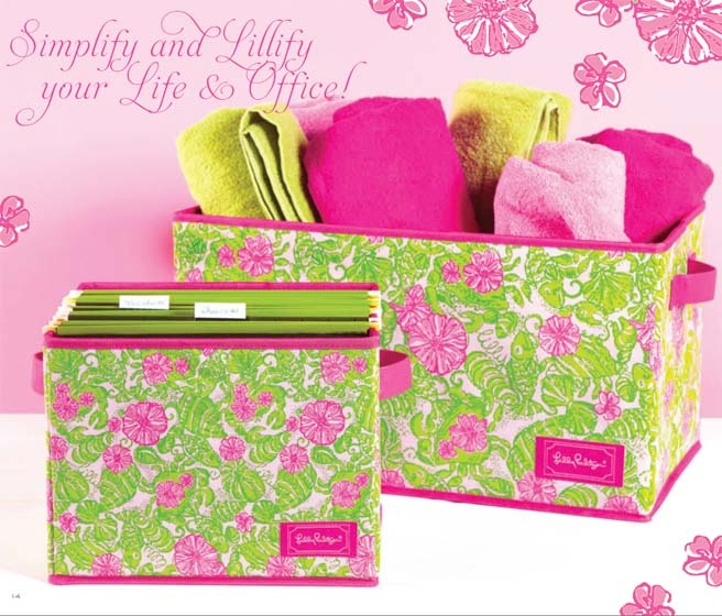 Lilly Pulitzer / Lifeguard Press Organizational Bins- also available in blue with turquoise seashell print