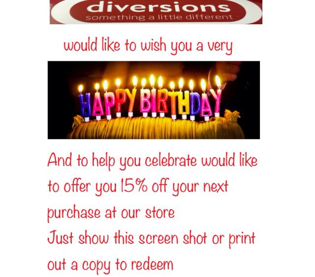 Befriend us on Facebook and get money off vouchers on your birthday, previews of events and new arrivals, movie trailers and much more just search for Diversions gifts