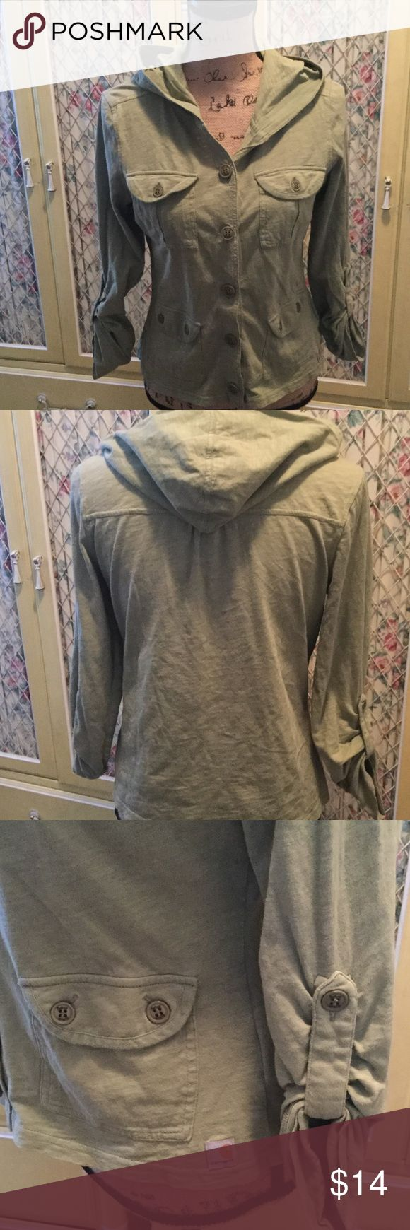Carhartt hooded cotton field jacket S Cute olive green button down jersey field jacket.  Long sleeves can be gathered into attached strap and buttoned up.  4 pockets on front.  Lightweight, great layer for spring.  Excellent used condition. Carhartt Tops Button Down Shirts