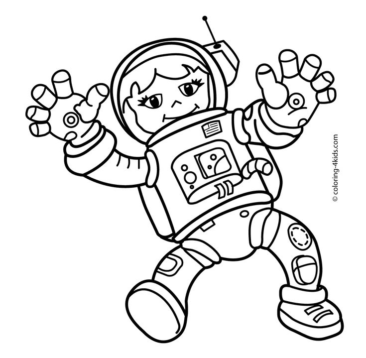 space astronauts coloring pages | Spaceman girl in the space coloring pages for kids ...