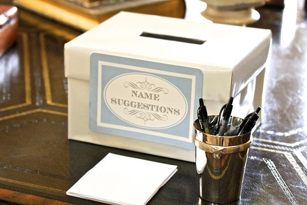 Baby Shower idea: baby name suggestion box