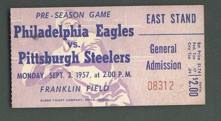 Philadelphia Eagles Vs. Pittsburgh Steelers Ticket Stub Sept. 2, 1957 123938