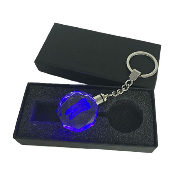 Stainless Steel Growing Crystal  key Chain LED light Key Ring EDC Gadget