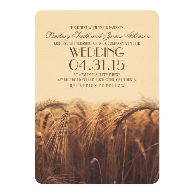 elegant rustic wheat wedding invitations