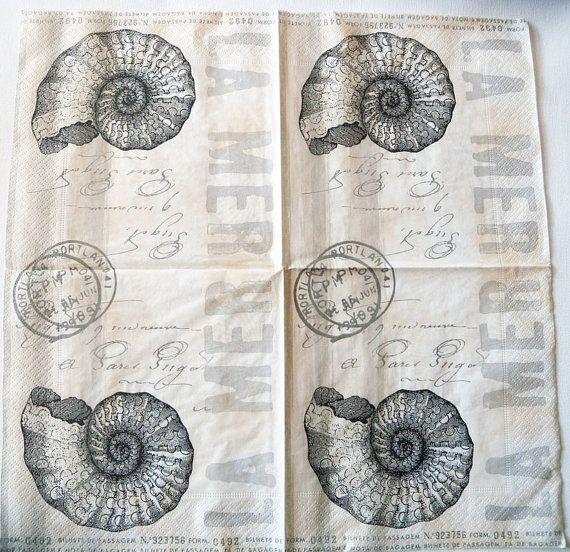Decoupage Paper Napkins Vintage Sea Nautilus by Chiarotino