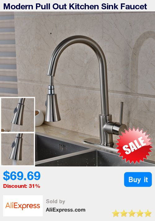 """Modern Pull Out Kitchen Sink Faucet One Handle 10"""" Hole Cover Plate Bathroom Sink Mixer Taps * Pub Date: 14:12 Apr 28 2017"""