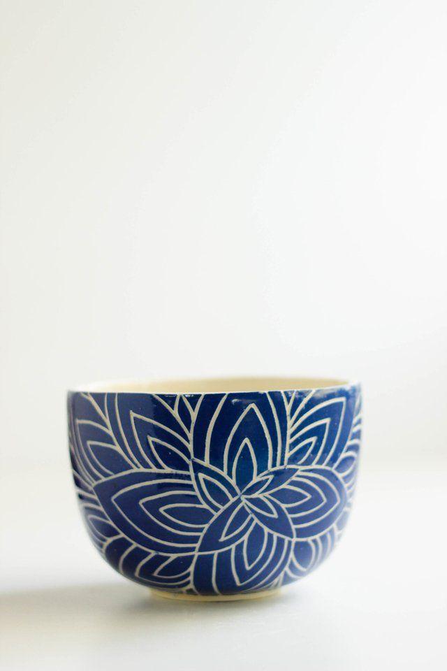 Cuenco flor de loto azul - comprar online