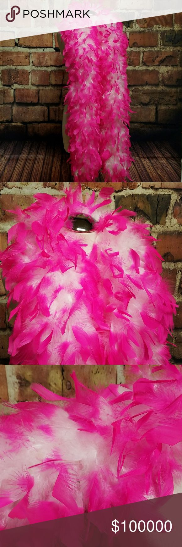 🆕 Hot pink and white feather boa Hot pink tips, white at center Accessories