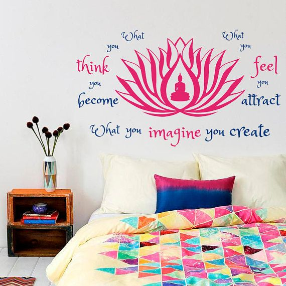 Wall Decal Quote What You Think Become Feel Attract Imagine Create Buddha Lotus Flower Yoga Zen Bedroom Living Vinyl Sticker Murals S119