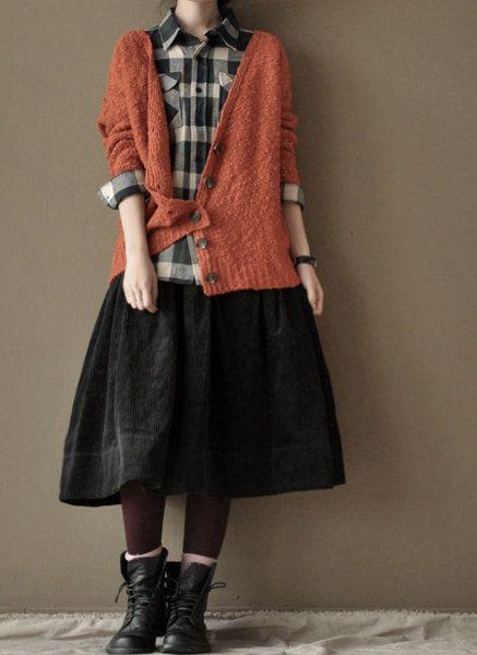 Orange open wool sweater Long Sweater-two colours. $65.66, via Etsy.
