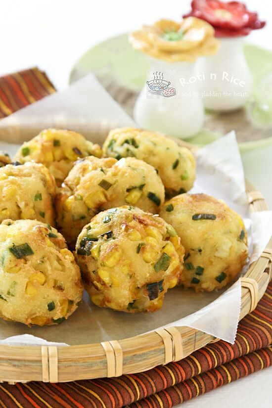 Tofu, Corn, and Chive Fritters. I bet you wouldn't even know that there's tofu in this!
