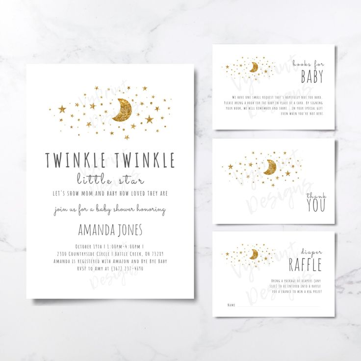 Twinkle Twinkle Little Star Baby Shower Invitation, Printable Baby Shower Invitation, Star Baby Shower Invitation Package with Inserts TWL02