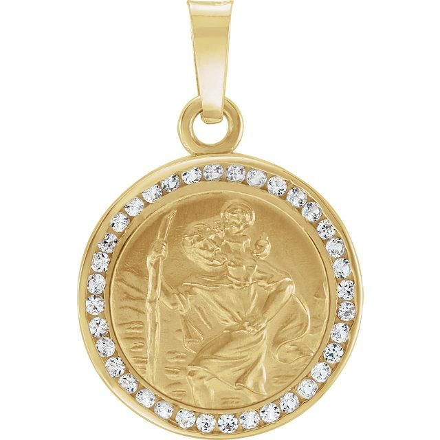 14k Yellow Gold Virgin Mary White Sapphire Religious Pendant Necklace